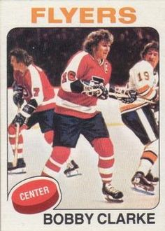 Highlights, stats and hockey card info for Bobby Clarke. Clarke played his entire National Hockey League (NHL) career with the Philadelphia Flyers. Hockey Cards, Baseball Cards, Bobby, Who Plays It, Hockey Pictures, Collector Cards, Nfl Fans, Philadelphia Flyers, National Hockey League