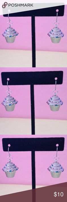 Cupcake Earrings Silver Plated Cupcake Earrings, Cupcakes are silver plated and have pink icing and colorful stones that resemble sprinkles.  These are a really cute gift for teens, family, friends or someone special.  Charms are attacked to silver plated earwires. Handmade Jewelry Earrings