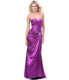 Magenta Satin Strapless Sweetheart Lace Up dress