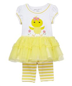 Take a look at this Yellow Chick Dress & Leggings - Infant, Toddler & Girls today!
