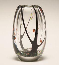 "Vicke Lindstrand for Kosta ""Autumn Tree"" Swedish art glass vase"