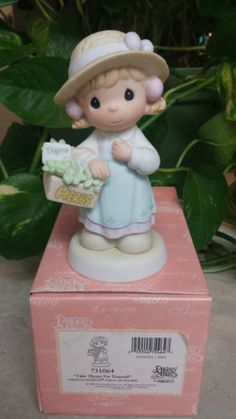"PRECIOUS MOMENTS ""TAKE THYME FOR YOURSELF"" 731064 YOUNG GIRL W/BASKET OF HERBS in Collectibles, Decorative Collectibles, Decorative Collectible Brands, Precious Moments, Figurines, Other Precious Moments Figures 