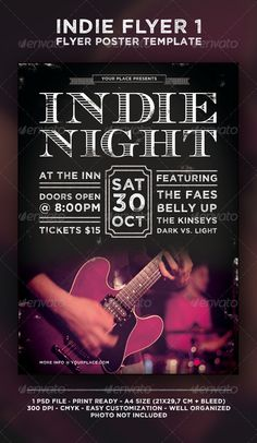 Indie Flyer 1 — Photoshop PSD #alternative #band • Available here → https://graphicriver.net/item/indie-flyer-1/4763118?ref=pxcr