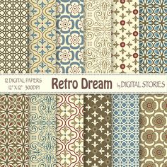 Retro Digital Paper RETRO DREAM Retro scrapbook by DigitalStories, €2.60