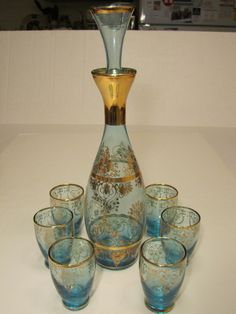 Elegant Bohemian Blue With Gold Decorations Liqour Decanter w/ 6 Shot Glasses Gold Decorations, White Rooms, Shot Glasses, W 6, Decanter, Shades Of Blue, Blue And White, Beer, Bohemian