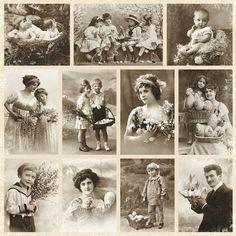 Pion Design - From Grandma's Attic - Spring greeting Vintage Abbildungen, Vintage Ephemera, Vintage Girls, Vintage Postcards, Vintage Prints, Vintage Children Photos, Vintage Pictures, Old Pictures, Old Photos