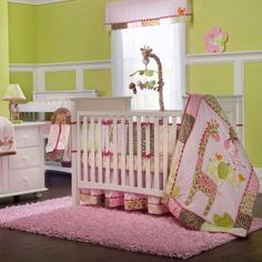 Everything you need to outfit baby's crib for sound sleeping and sweet dreams with lots of cheerful jungle friends! The colorful giraffe, elephant, zebra, monkey and birds do a delicate balancing act that will delight your little girl.