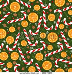 Christmas seamless pattern with rings of an orange, candy, anise, berries of cranberries, snowflakes and fir branches.