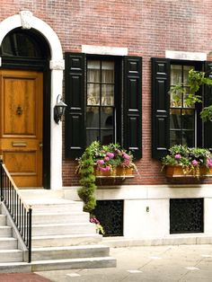 Delancey Place Townhouse - traditional - exterior - philadelphia - Eberlein Design Consultants I like the brown window boxes with the black shutters Window Shutters Exterior, Black Shutters, Wood Shutters, House Paint Exterior, Exterior House Colors, Exterior Design, Black Exterior, Exterior Trim, Traditional Exterior