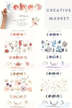 Celestial Garden Moons Digital Design Assets Collection - including Moon Creation Elements styled as: Living Coral · Esoteric Crystal · Romantic Flower · Mystical Forest · Gold Zodiac · and an Additional Bonus of Arrangements | #photoshop #illustrator #digitaldesign #creativeassets #graphicdesign #graphicelements #patterndesign #logodesign #mysticaldesign #moonart #creativemarket #affiliatelink Watercolor Kit, Watercolor Texture, Watercolor Background, Have A Nice Life, Mystical Forest, Beautiful Calligraphy, Logo Design, Graphic Design, Romantic Flowers