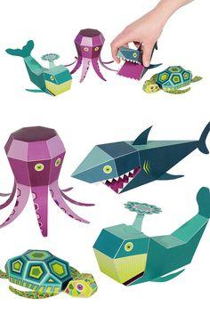 Sea Animals Paper Toys  4 Sea Animals  DIY Papercraft by pukaca
