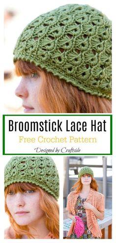 5853143b85024 Broomstick Lace Hat Free Crochet Pattern  freecrochetpatterns   crochetbeanie  crochetlace Gorritas Tejidas
