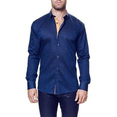 Men's Maceoo 'Vogue Blue' Contemporary Fit Sport Shirt (121510 IQD) ❤ liked on Polyvore featuring men's fashion, men's clothing, men's shirts, men's casual shirts, mens woven shirts, mens sport shirts, mens long sleeve shirts, mens button down collar shirts and mens cotton shirts