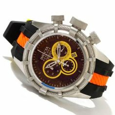 Invicta Men's 10963 Bolt Reserve Chronograph Brown Dial Black and Orange Silicone Watch Invicta. $313.60. Flame-fusion crystal; stainless steel case; black and orange silicone strap with yellow loop. Water-resistant to 200 M (660 feet). Brown dial with silver tone and white hands and brown and white hour markers; luminous; stainless steel twisted wire accent on bezel; textured stainless steel crown and pushers. Swiss quartz movement. Chronograph functions with 60 second...