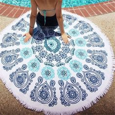 2017 New European Beach Towel Blanket Cotton Print Large Fringed Round Round Beach Towel #Affiliate
