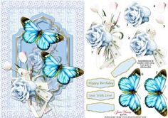 Rose Butterflies Tulips on Craftsuprint designed by June Young - A shaped panel with a pale blue rose and tulips and large blue butterflies on a background of pale butterflies set in a lace frame. There is decoupage for the roses and butterflies and four greetings panels, two are blank for your own lettering. The butterflies can be really 3D if you curl out the wings. This fits an A5 card front and will be suitable for many different occasions.  - Now available for download!