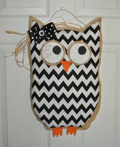 Burlap Owl with chevron pattern.