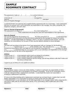 Roommate Rental Agreement Template  Best Car Gallery  Roommate