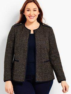 You'll be a standout in our Sparkle Tweed Boucle Jacket - only at Talbots! Suits For Women, Blouses For Women, Blazers, Hijab Fashion, Fashion Outfits, Plus Size Blazer, Blazer Outfits, Work Outfits, Boucle Jacket