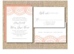 Printable Wedding Invitation  Peach Lace by iheartpaperandthread, $35.00