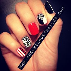 What I Used:  -Julep Delaunay  -Essie Blanc  -Essie Licorice  -Lechat nail art stripers in black and white