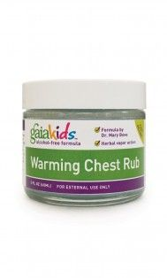 GaiaKids Warming Chest Rub Gaia Kids liquid extracts, oils, salves, and tonics deliver the same potent herbs as our adult formulas in an alcohol-free concentrate formulated just for kids by Dr. Mary Bove, pediatric naturopath.