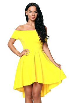 Yellow Shoulder Off All The Rage Skater Fit and Flare Dress Robe Swing, Swing Dress, Flare Skirt, Flare Dress, Cute Skater Skirts, Floral Skater Dress, Buy Dress, Yellow Dress, Women's Fashion Dresses