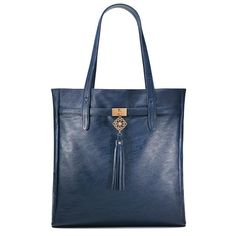 "Large and luxurious, this navy color leatherlike #tote with a chic fringe tassel hanging from an ornamental square Avon Signature Logo on the front is the ultimate fashion tote. Featuring Avon Signature print lining, it has one interior back zipper pocket with additional card slot, two media pockets, and one pen/lipstick pocket. Shell: PVC/Plastic Lining: 100% Polyester Measurements: 14 3/8"" H x 13 3/8"" W x 3 1/2"" D; 9"" handle drop #purse"