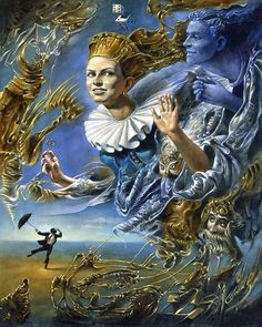 """Michael Cheval, Wind of Fortune  20"""" x 16"""", oil on canvas"""