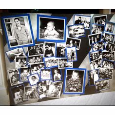 Graduation Photo Board - I like the idea of colored paper framing the pictures.  Can use school colors.