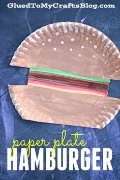 I'm rolling with the summer BBQ food theme on Glued To My Crafts and today I present to YOU our Paper Plate Hamburger kid craft idea! Summer Crafts For Toddlers, Easy Toddler Crafts, Infant Crafts, Preschool Food Crafts, Kids Crafts, Daycare Crafts, Letter H Activities For Preschool, Room Crafts, Daycare Ideas