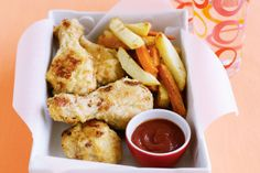 After an easy Friday night dinner everyone will enjoy? This recipe for crumbed chicken and chips could be just the ticket!