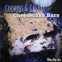         Cookie & Cream Cheesecake Bars ~  A freaking amazing no-bake dessert that will wow everyone who tastes it! These  are so simple, and you only need 5 ingredients.   Recipe @: http://sodapopave.com/soda-pop-ave/2013/9/30/cookie-cream-cheesecake-bars