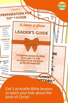 Present Jesus the Savior to Kids as the Ultimate Gift! Then challenge them to accept that gift this holiday season. A Savior is Given: Leader's Guide contains five creative, detailed lesson plans to make teaching your kids about the birth of Christ easy and fun–and meaningful. Use these printable Bible lessons in your children's ministry, Sunday School class, or church pageant this Christmas! Click through for details. Family Bible Study, The Birth Of Christ, Bible Lessons For Kids, The Ultimate Gift, Object Lessons, Hands On Activities, Sunday School, Teaching Kids, Savior