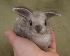 Needle felted gray bunny rabbit Easter basket spring by Ainigmati, $90.00