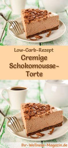 Rezept für eine Low Carb Schokomousse-Torte: Der kohlenhydratarme, kalorienreduzierte Kuchen wird ohne Zucker und Getreidemehl zubereitet ... #lowcarb #kuchen #backen