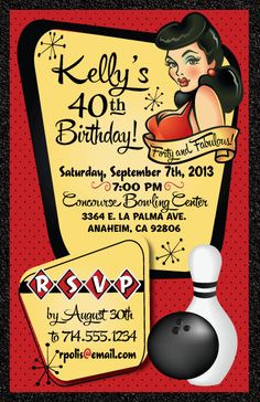 809bccbd6 Pin-Up Girl Bowling Birthday Party Invitation! This is too cute! Love the