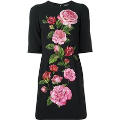 Dolce & Gabbana Shortsleeve Dress With Roses ($1,735) ❤ liked on Polyvore featuring dresses, black, rose print dress, short floral dresses, short-sleeve maxi dresses, summer cocktail dresses and short cocktail dresses