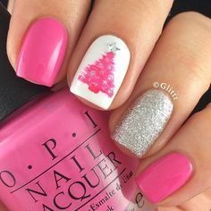 Are you looking for some cute nails desgin for this christmas but you are not sure what type of Christmas nail art to put on your nails, or how you can paint them on? These easy Christmas nail art designs will make you stand out this season. Christmas Tree Nails, Xmas Nails, Christmas Nail Art Designs, Get Nails, Fancy Nails, Holiday Nails, Love Nails, Trendy Nails, Pink Nails