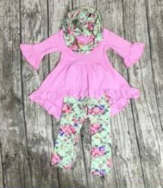 0a3cb006d6734 Pink Mint Floral Boutique Outfit FREE MATCHING SCARF set school fall autumn.  Girls Boutique ...