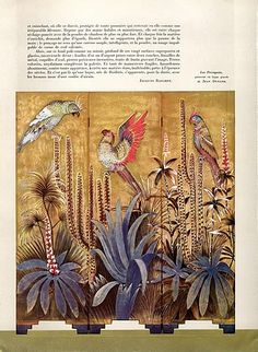 Jean Dunand 1940 Screen Parrot Decorative Arts illustrated by Jean Dunand… Decorative Panels, Decorative Objects, Sheet Metal Crafts, Delia Fischer, Magazine Mode, Art Sculpture, Art Deco Furniture, Chinoiserie, Design Elements