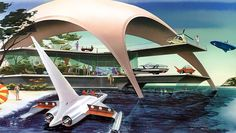 Holiday house of the future - Spaceship, pulp retro futurism back to the future tomorrow tomorrowland space planet age sci-fi airship steampunk dieselpunk alien aliens martian martians BEMs BEM's Futuristic Art, Futuristic Technology, Futuristic Architecture, Technology Gadgets, Future City, Future House, Illustrations Vintage, Illustration Art, 1950s Design