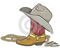 Cowboy Boot With Western Hat Isolated On White Stock Vector - Illustration of equipment, vintage: 28284540 Western Logo, Western Hats, Retro Images, Spirit Wear, I Tattoo, Cowboy Boots, Westerns, Stock Photos, Illustration