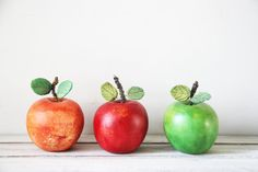 Colourful ceramic apples set of three by ArktosCollectibles