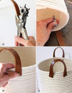 Nos encanta este DIY para hacer una cesta sencilla. Sólo necesitamos cuerda y unas asas de cuero... ¡Acierto seguro!