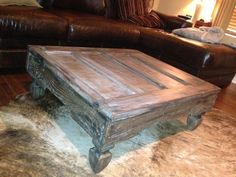 Repurposed door to coffee table