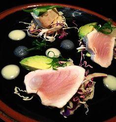 Pacific Albacore Tuna: white soy aioli, puffed black rice, yuzu gel, avocado and cabbage Black Rice, New Menu, Menu Items, Aioli, Tuna, Cabbage, Avocado, Deck, Product Launch