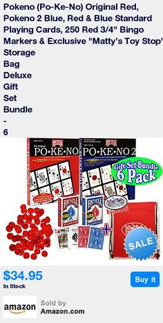"""Deluxe Gift Set Bundle Includes Pokeno (Po-Ke-No) Original Red, Pokeno 2 Blue, Red & Blue Standard Playing Cards, 250 Red 3/4"""" Bingo Markers & Exclusive """"Matty's Toy Stop"""" Storage Bag! * Pokeno - Combine the thrill of the hunt with the strategy of classic table games and you have Bicycle® Po-Ke-No® cards. There are 5 ways to play - the hardest part is deciding which one! Players can choose the original version of Po-Ke-No®, 5-Card, Black Jack, 4-Corner, or Roulette. Children gain listening a"""