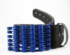 Recycled Bike Chain Belt Buckle Curved Green by RhythmicMetal