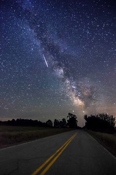 """thk:  """"Road To The Milky Way II"""" - a meteor shoots through the sky next to the Milky Way as it rises above Parmenter Rd in Palermo, Maine. This area is also known as Mo's Mountain. Photographed June 10, 2013. keywords: night photography meteor milky way taylor photography landscape astrophotography miketaylorphoto mo's mountain maine milky way road to the milky way"""